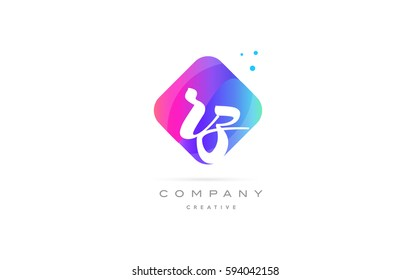 rz r z  pink blue rhombus abstract 3d alphabet company letter text logo hand writting written design vector icon template