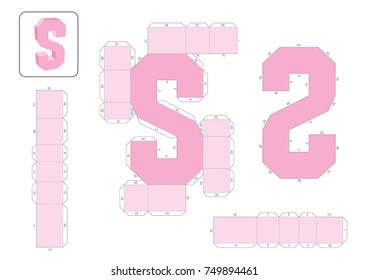S Alphabet paper model template, cut out and glue with numbers marked into a 3d model.