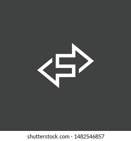 s with arrow logo vector, icon template s wuth negative space arrow