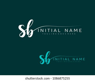 S B Initial handwriting logo vector. Hand lettering for designs.