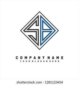 S B initial letter, modern logo design template vector