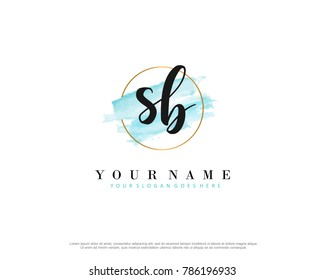 S B Initial water color logo template vector