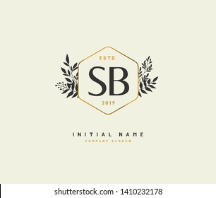 S B SB Beauty vector initial logo, handwriting logo of initial wedding, fashion, jewerly, heraldic, boutique, floral and botanical with creative template for any company or business.