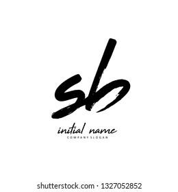 S B SB Initial brush logo template vector