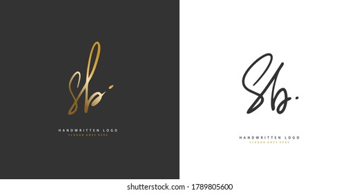 S B SB Initial handwriting or handwritten logo for identity. Logo with hand drawn style.
