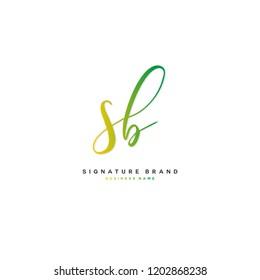 S B SB Initial letter handwriting and  signature logo concept design