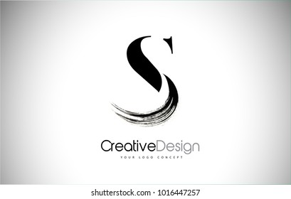 S Brush Stroke Letter Logo Design. Black Paint Logo Letter  Icon with Elegant Vector Design.
