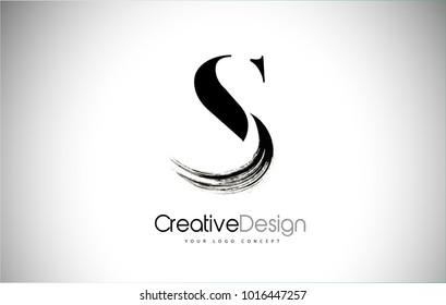 S Brush Stroke Lettre Logo Conception. Icône lettre logo Peinture noire avec création Vectorielle Élégante.