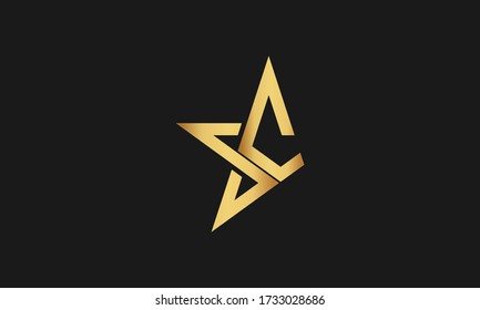 S , C , CS , SC Letter with Star Logo Template vector icon illustration design. Modern Star logo in elegant style with Black Background