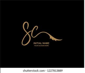 S C Initial Handwriting Logo Template