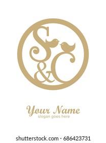 S C initial wedding decorative logo template