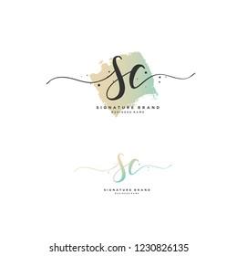 S C SC Initial logo template vector
