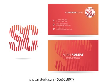 S & C waves line joint logo design with business card template