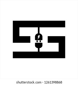 S, CC, GG, CSC initials electrical switch shape logo