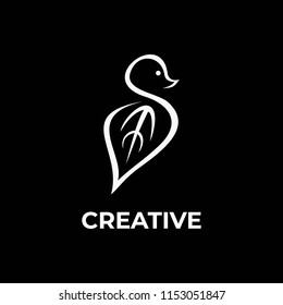 S creative logo with bird look and leaf abstract