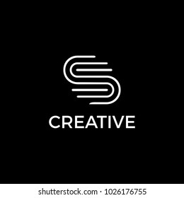 S creative logo in black and white.