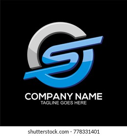S, CS or OS initial logo template for bussiness company