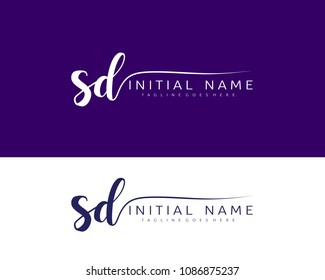 S D Initial handwriting logo vector. Hand lettering for designs.