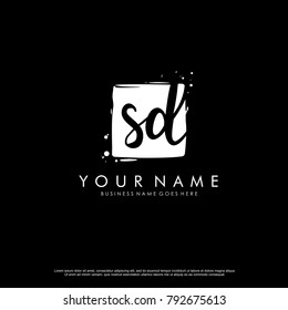S D initial square logo template vector