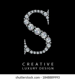 S diamond letter vector illustration. White gem symbol logo for your luxury business, casino, jewelry or web site. Upper letter with many sparkling diamonds isolated on black background.
