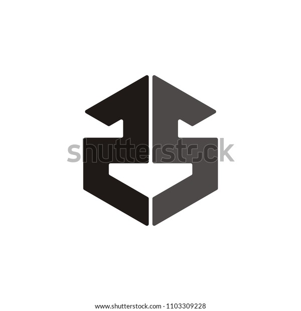 S S or double S or 25 letter number vector logo hexagon