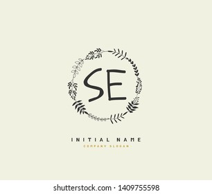 S E SE Beauty vector initial logo, handwriting logo of initial wedding, fashion, jewerly, heraldic, boutique, floral and botanical with creative template for any company or business.