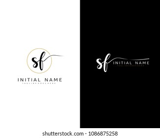 S F Initial handwriting logo vector. Hand lettering for designs.