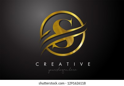 S Golden Letter Logo Design with Circle Swoosh and Gold Metal Texture. Creative Metal Gold S  Letter Design Vector Illustration.