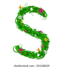 S Green eco letter with leaves and flowers for your design. Flat color style. Spring and summer concept. Vector Illustration