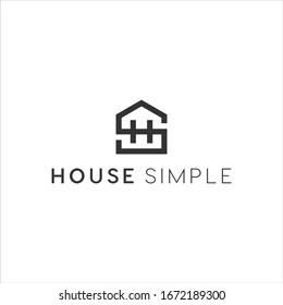 s h logo monogram line art house logo vector