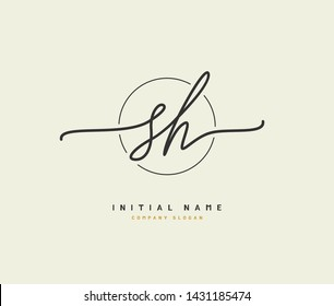 S H SH Beauty vector initial logo, handwriting logo of initial signature, wedding, fashion, jewerly, boutique, floral and botanical with creative template for any company or business.
