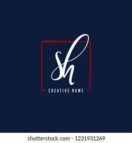 S H SH Initial logo template vector