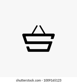S initial as a basket, shop logo design inspiration isolated on white background