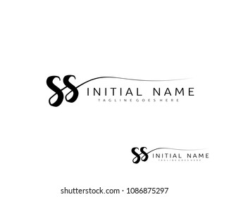 S S Initial handwriting logo vector. Hand lettering for designs.
