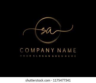 S A Initial handwriting logo vector