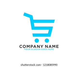 S Initial logo concept with shopping cart template vector
