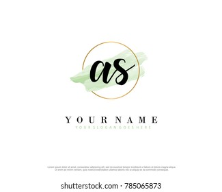 A S Initial water color logo template vector