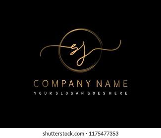 S J Initial handwriting logo vector