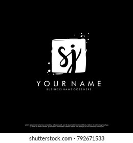 S J initial square logo template vector
