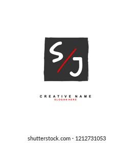 S J SJ Initial abstract logo concept vector