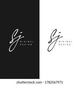 S J SJ Initial handwriting or handwritten logo for identity. Logo with signature and hand drawn style.