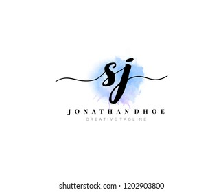 S J SJ Initial watercolor logo on white background. Logo template vector