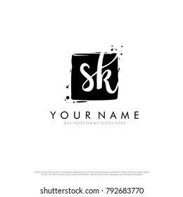 S K initial square logo template vector