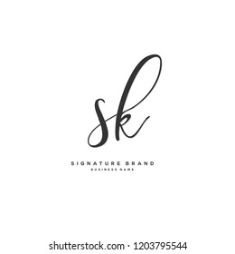 S K SK Initial letter handwriting and  signature logo concept design