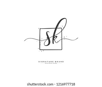 S K SK initial logo handwriting  template vector