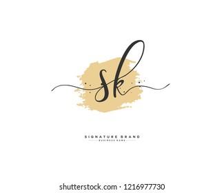 S K SK initial logo handwriting  template vector