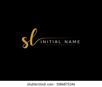 S L Initial handwriting logo vector. Hand lettering for designs.