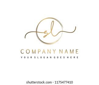 S L Initial handwriting logo vector
