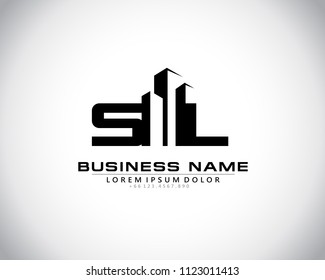 S L Initial logo concept with building template vector.