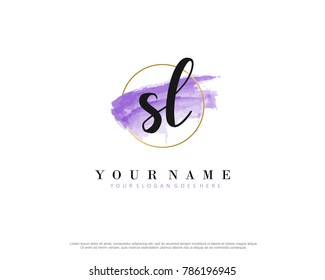 S L Initial water color logo template vector